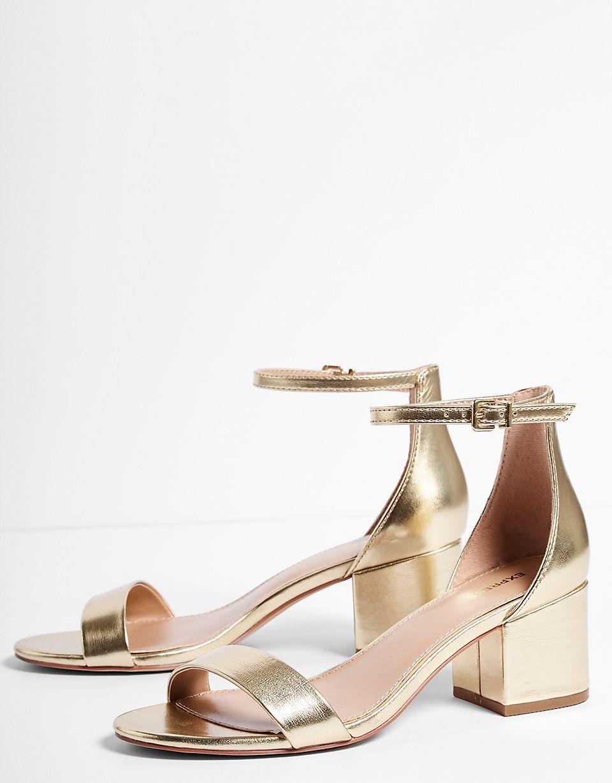 d2f76570593e1 Metallic Low Block Heeled Sandals | MC + JS | 3 :: 24 :: 18 | Low ...