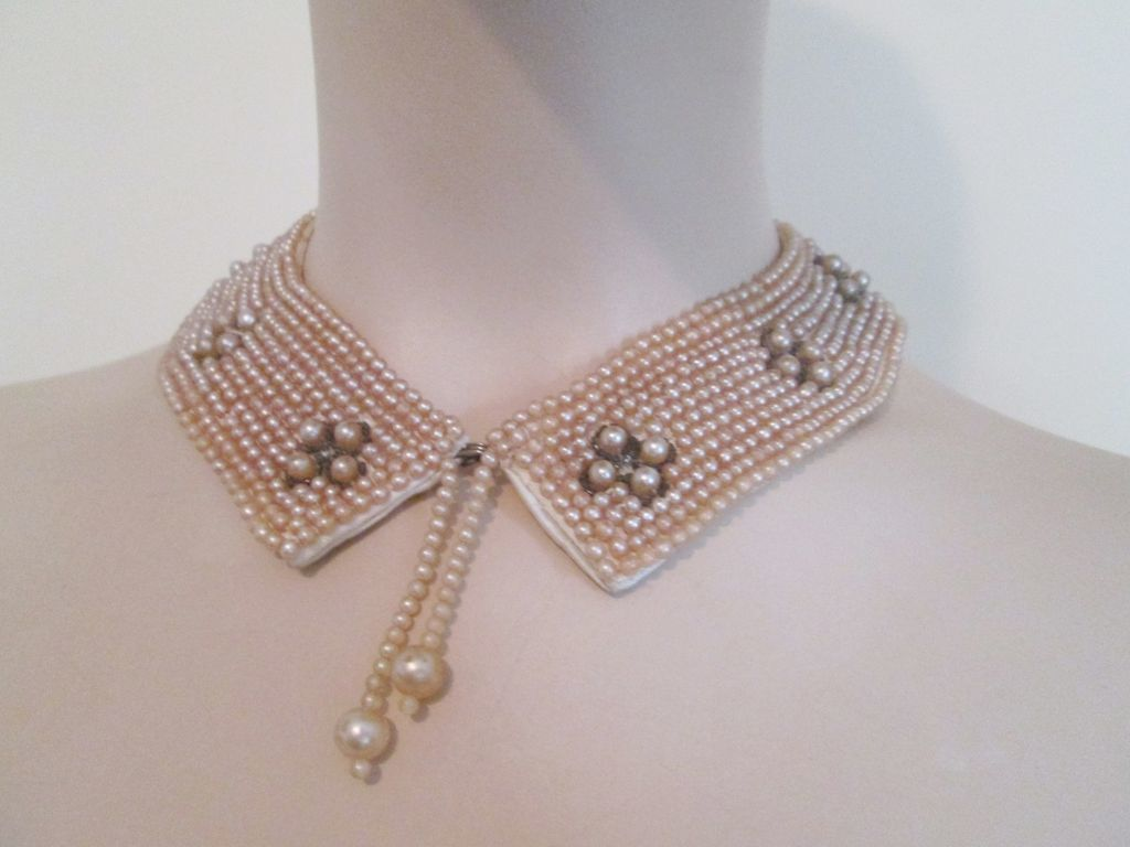 Beaded Collar Vintage 1940s Faux Pearl Seed Beads Tassel