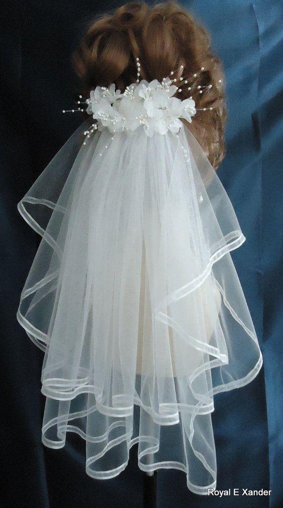 Bridal Veil, 2 Tier Bridal Veil, Ribbon Edge Veil, Shoulder Length Veil, Embellished Comb, H3044