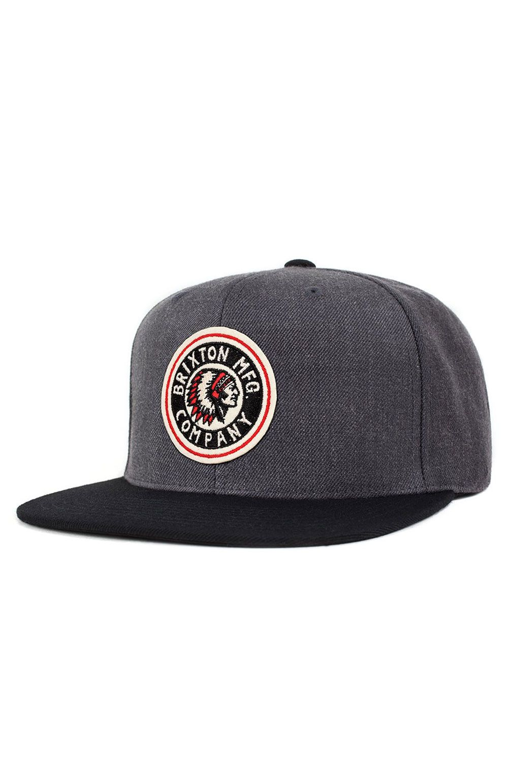 bcd92872c4e The Rival from Brixton is a six-panel cut and sew acrylic wool cap with a  custom embroidered felt patch at front with adjustable snaps at back.