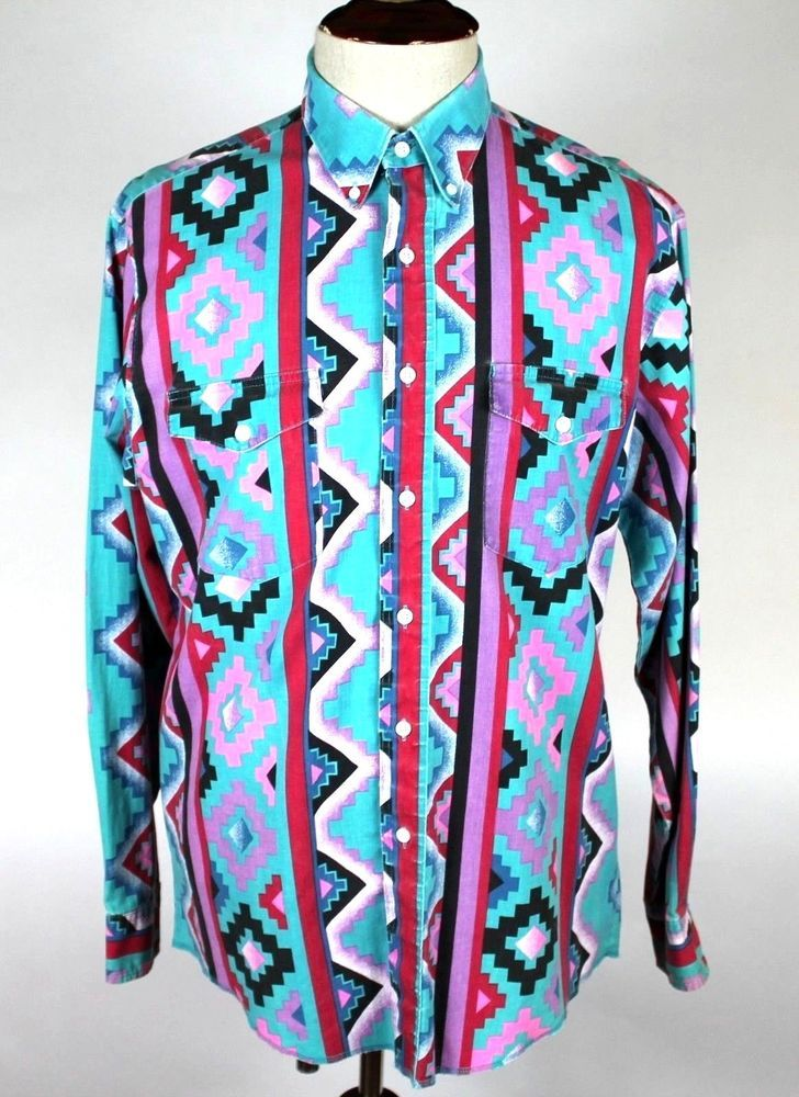 6ae0d474 Wrangler South Western Shirt Cowboy Cut Regular Fit size 16.5 - 36 X Long  Tails #Wrangler #Western