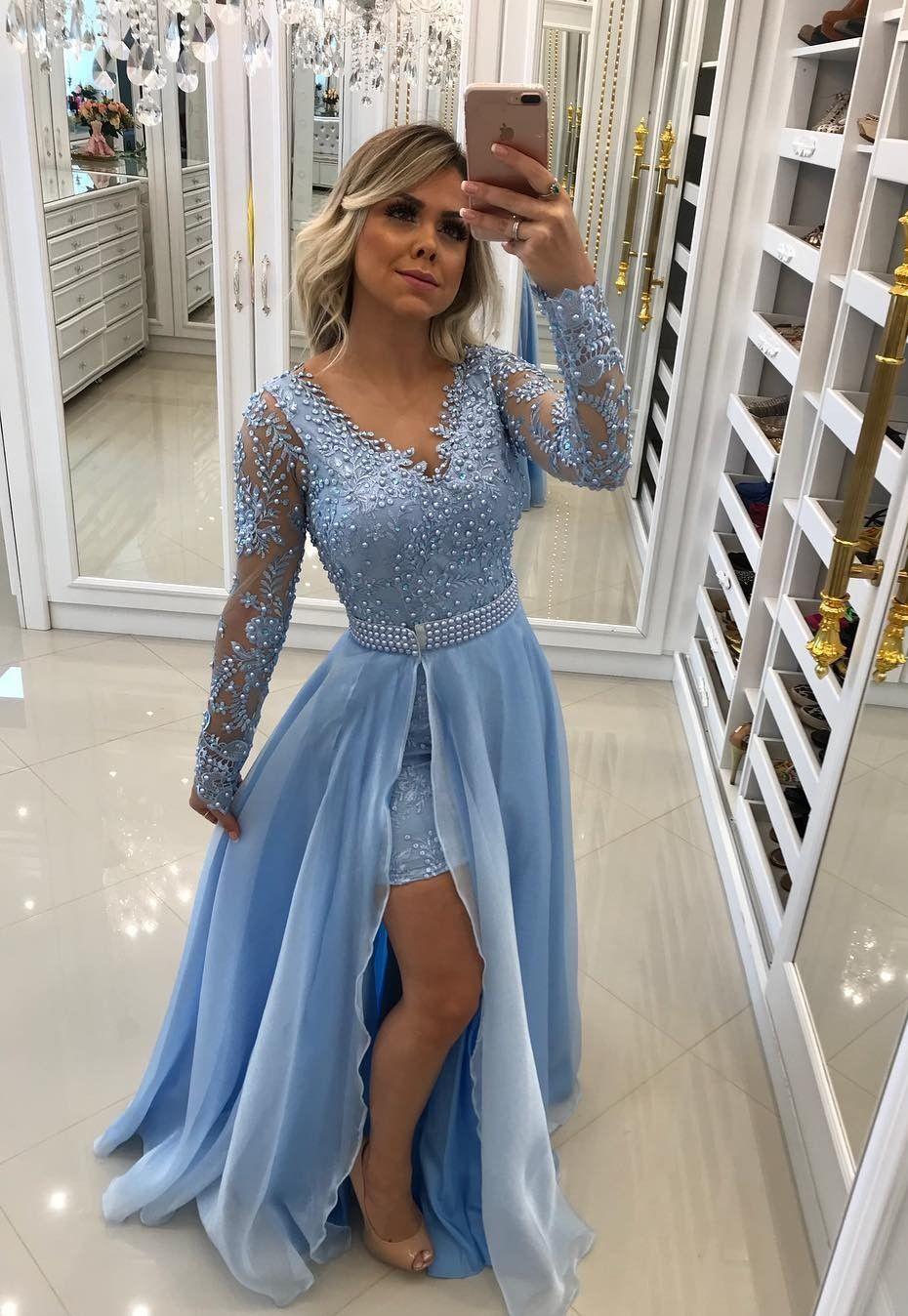 Blue Evening Dress 2019 Long Sleeve Prom Dress Ba8795 Evening Dresses Special Occ Prom Dresses Long With Sleeves Long Sleeve Prom Dress Lace Prom Dresses Long [ 1348 x 930 Pixel ]