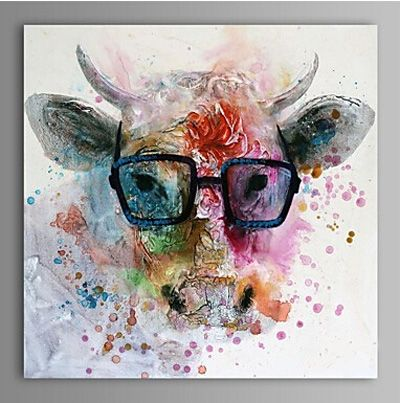 Hand Painted Modern Abstract Cow Wall Canvas Art Decoration Oil Painting On Canvas Wall Pictures For Living Rooms Canvas Painting Oil Painting Animal Paintings