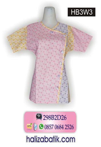 Baju Batik Wanita Blus Terbaru Bahan Katun Motif Batik Lengkung