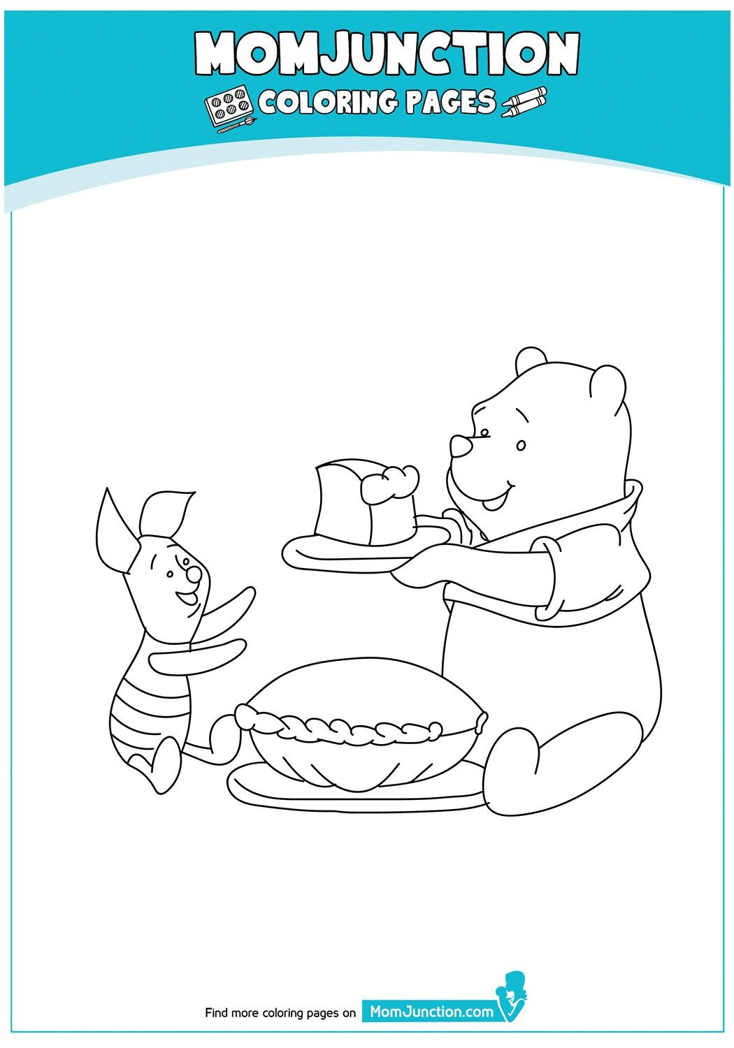 Winnie the pooh and piglet having pie coloring page thanksgiving