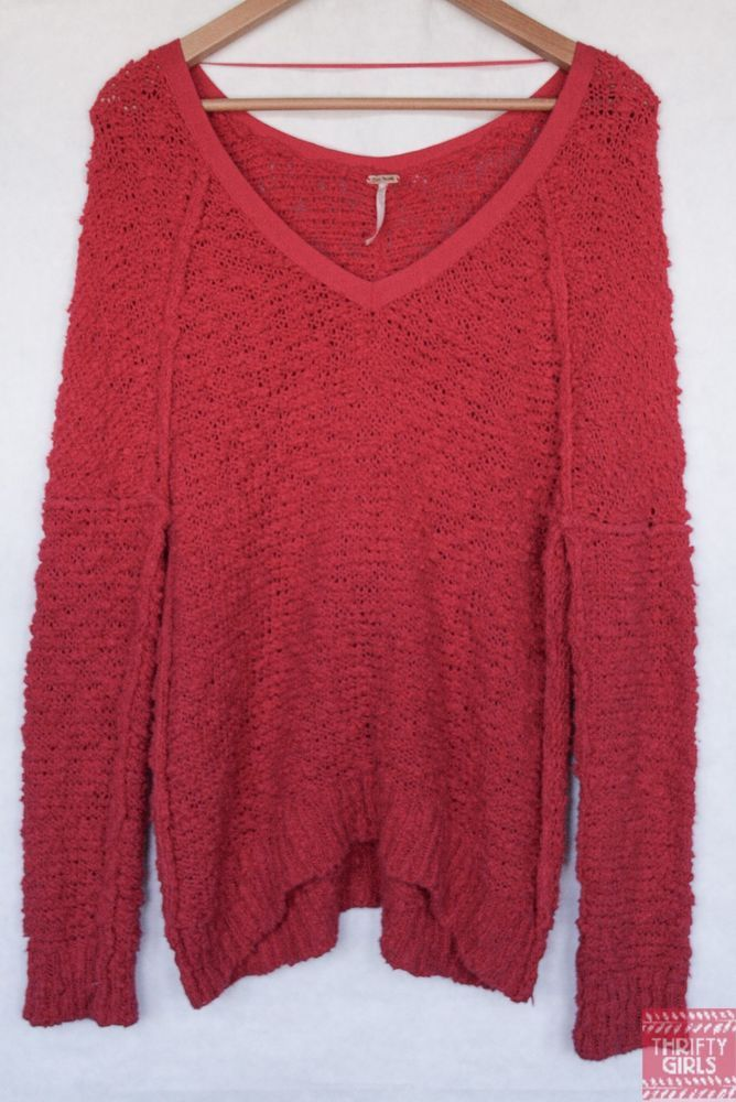 Free People XS Hot Pink Nubby Boucle Pullover Sweater V Neck Long ...