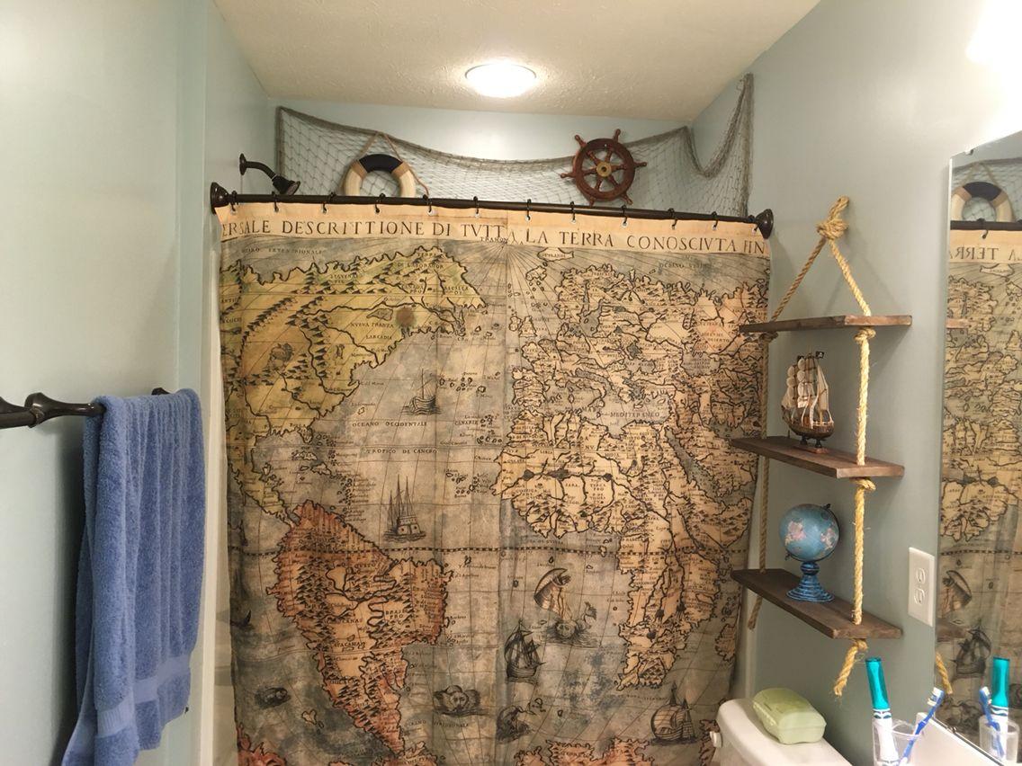 Our Boys Pirate Bathroom Map Shower Curtain Pirate Ships Globe Etc Pirate Bathroom Boys Bathroom Curtains