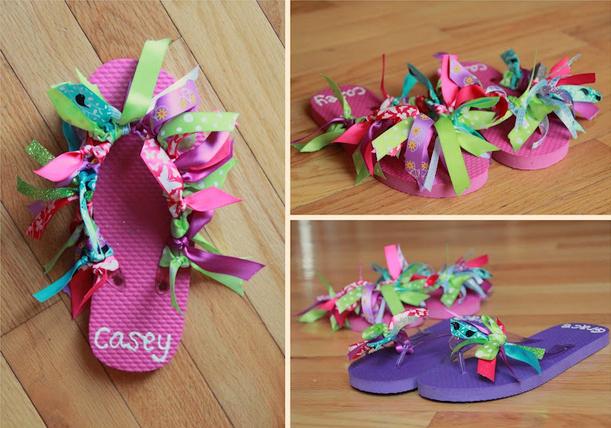 Ribbon flip flops for girls diy crafts pinterest for Flip flops for crafts