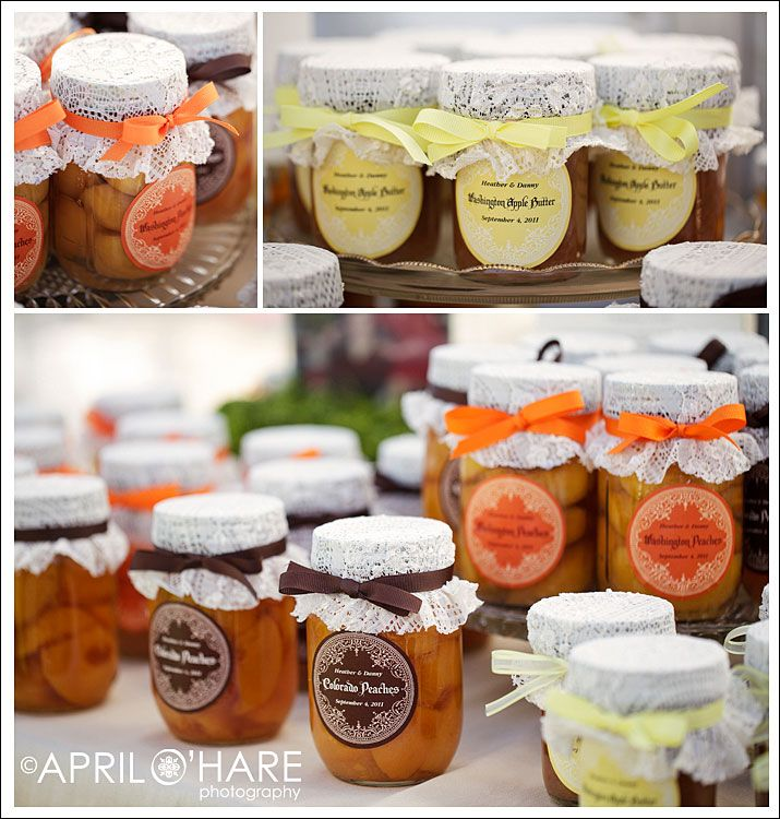Homemade Wedding Favors Canned Fruit Lables Lace Top And Ribbon Easy