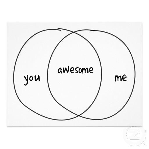 You Me Awesome Venn Diagram Personalized Invite Love The Purpose