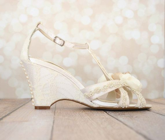 Wedding Shoes   Ivory Wedge Wedding Shoes With Lace Overlay, Champagne  Flowers And Pearl Buttons