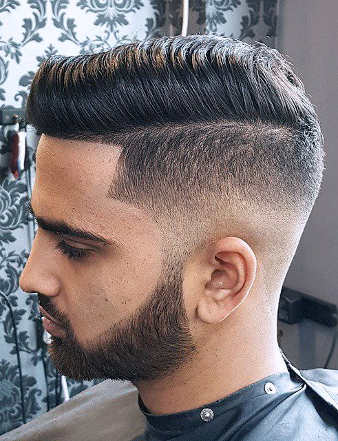 Undercut With Low Fade, Long Top To The Side W/ Perfect Shaved Beard Lines!