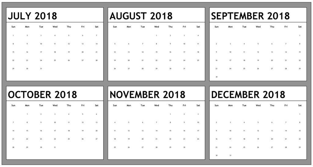Printable July To December Calendar 2018 2018 Calendars