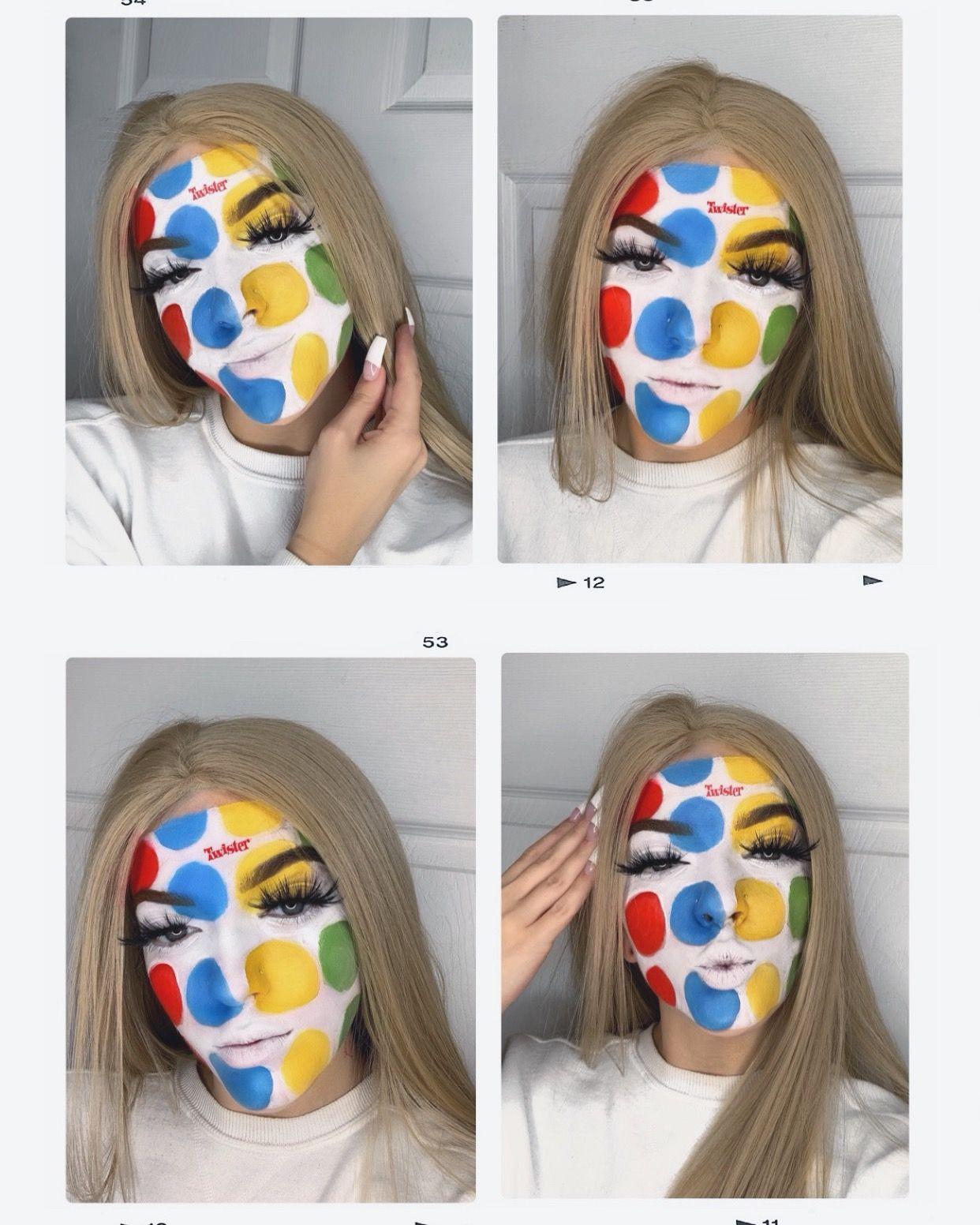 Twister board game Halloween makeup trendy 2019