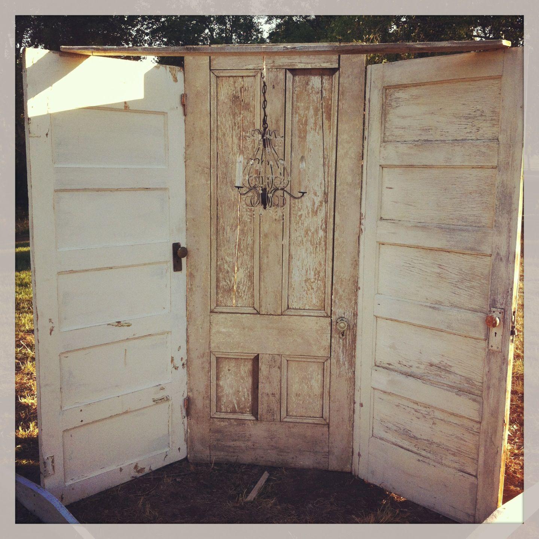 Rustic Door Wedding Ideas: Vintage Rustic Three Door Ceremony Backdrop With