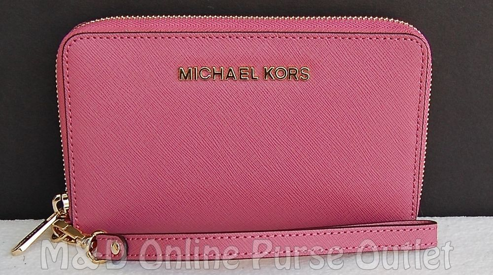 9e472c39faa048 Michael Kors Jet Set Travel Flat Multi Funct Phone Case Wristlet Wallet ~ Tulip #MichaelKors #ClutchWallet