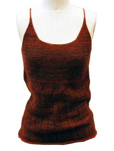 Rust and brown knit alpaca spaghetti strap Dries Van Noten tank.  Soft knit that's slightly cropped that would look great paired with navy high waisted pleated trousers.