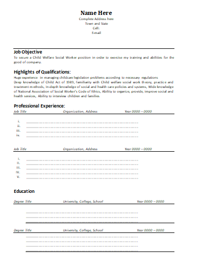 Social Worker Resume Template   Wordstemplates