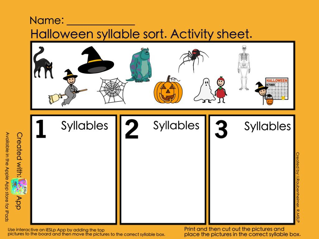 Halloween Syllables With Images