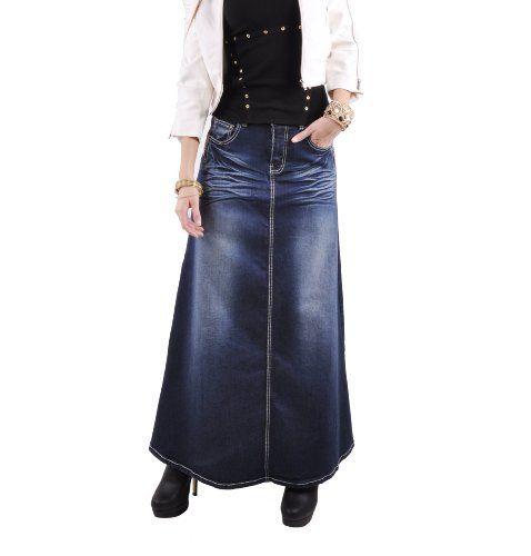 Style J Twilight Diva Long Jean Skirt Blue 38