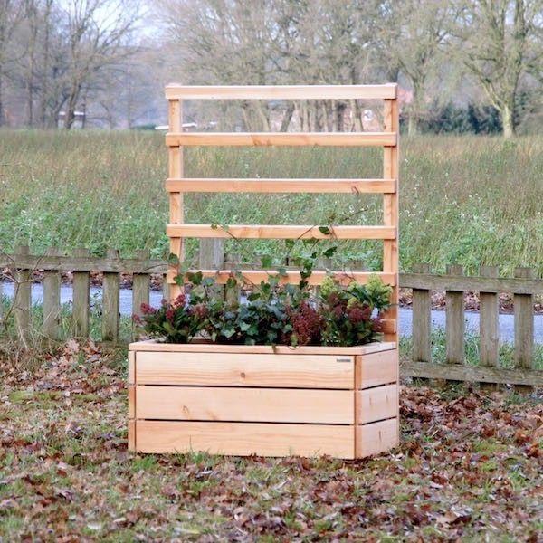 pflanzkasten pflanzk bel l holz mit rankgitter spalier natur sichtschutz pflanzkasten. Black Bedroom Furniture Sets. Home Design Ideas