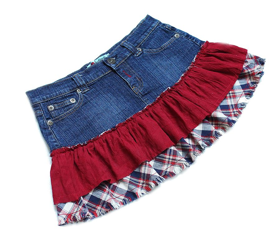 Authentic Denim Spodniczka Mini Falbanki Krata M L 6897040615 Oficjalne Archiwum Allegro Denim Fashion Mini