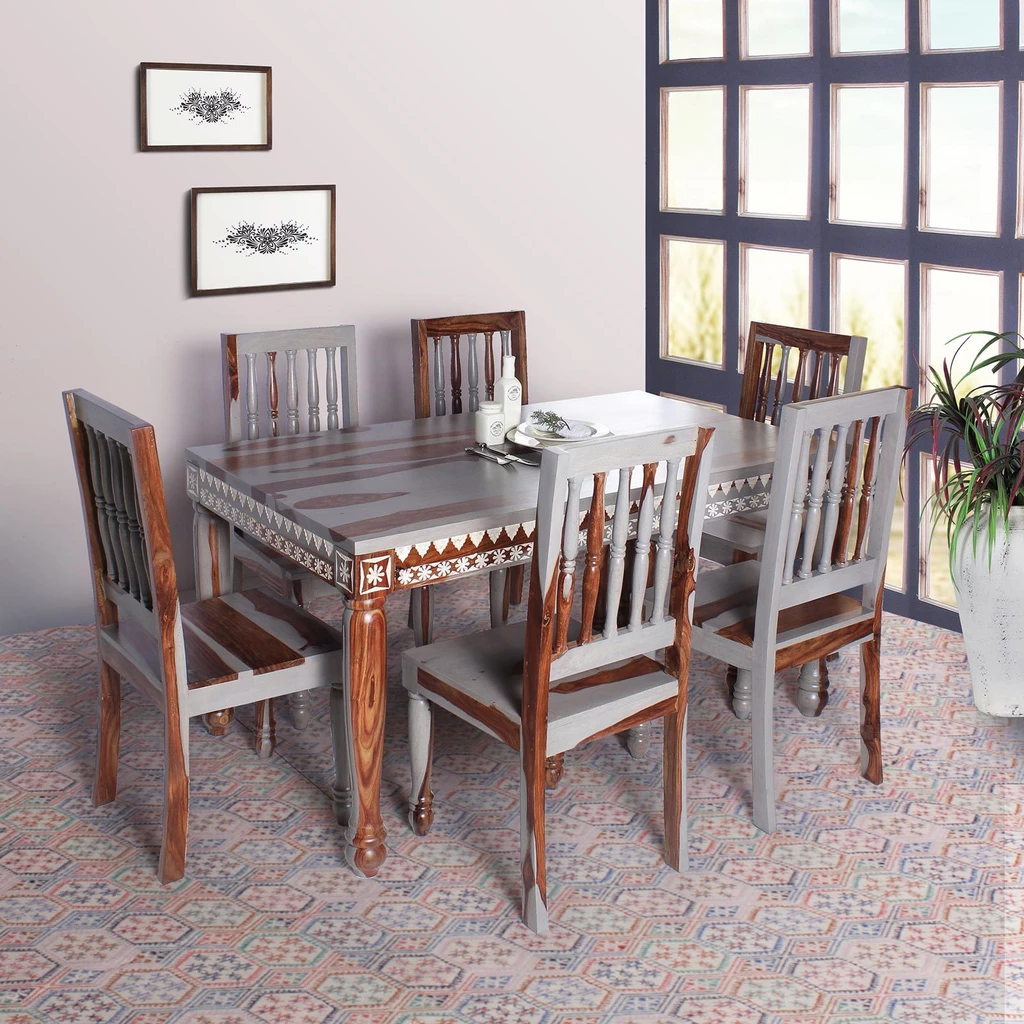 Vaclay Solid Wood Six Seater Dining Set Buy Dining Table Solid