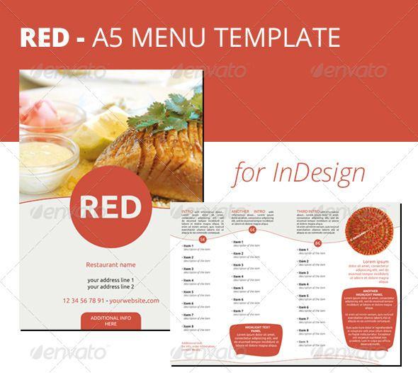 Red A5 Menu Indesign Template Food Menus Print Templates