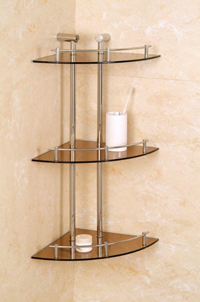 Signature Hardware Engel Tempered Glass Corner Shelf with Three Shelves