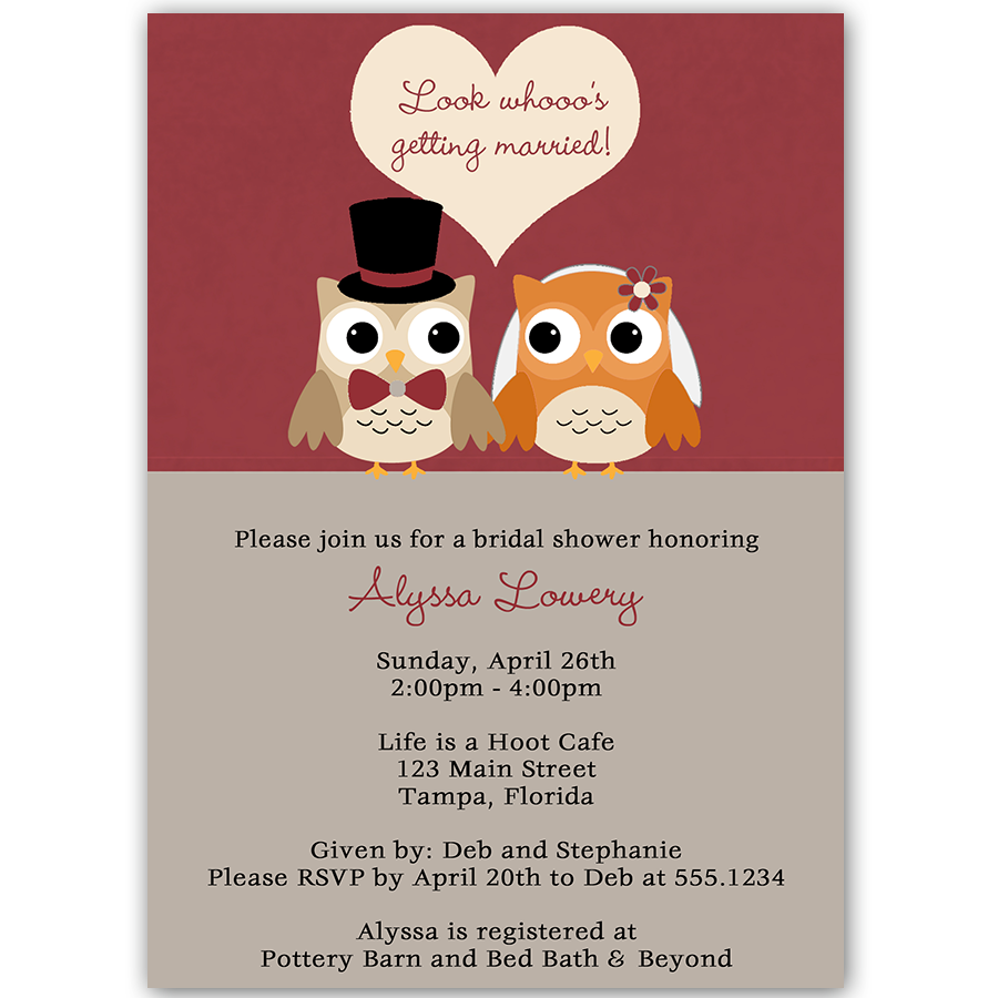 Look Whoo\'s Getting Married Autumn Bridal Shower Invitation ...