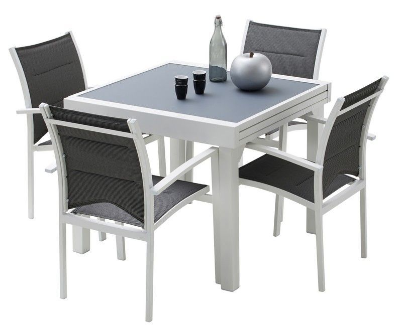 Ensemble salon de jardin Modulo 4 places blanc/gris perle | Salons ...