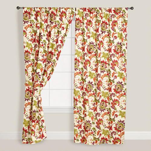 Floral Campione Cotton Curtains Set Of 2