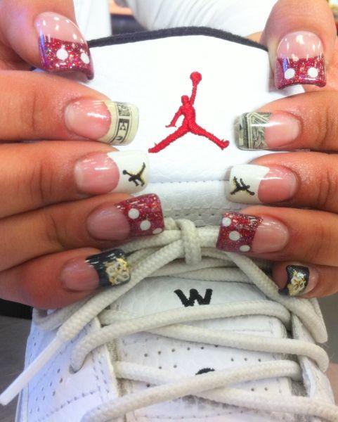 nike air jordan red black and white nails
