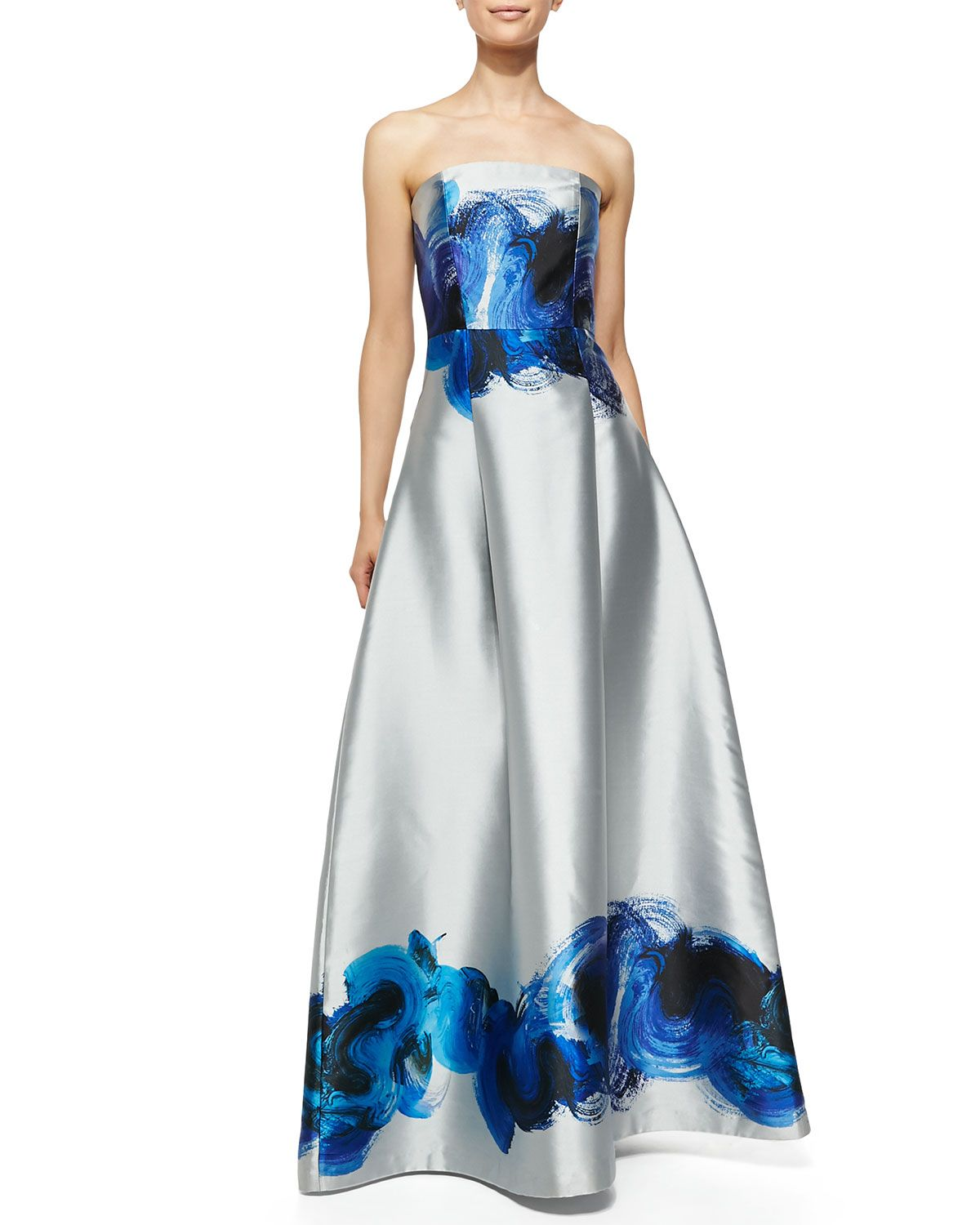 Neiman marcus dresses for weddings  NOIR Sachin u Babi Astor Strapless Brushstroke Swirl Gown jaglady