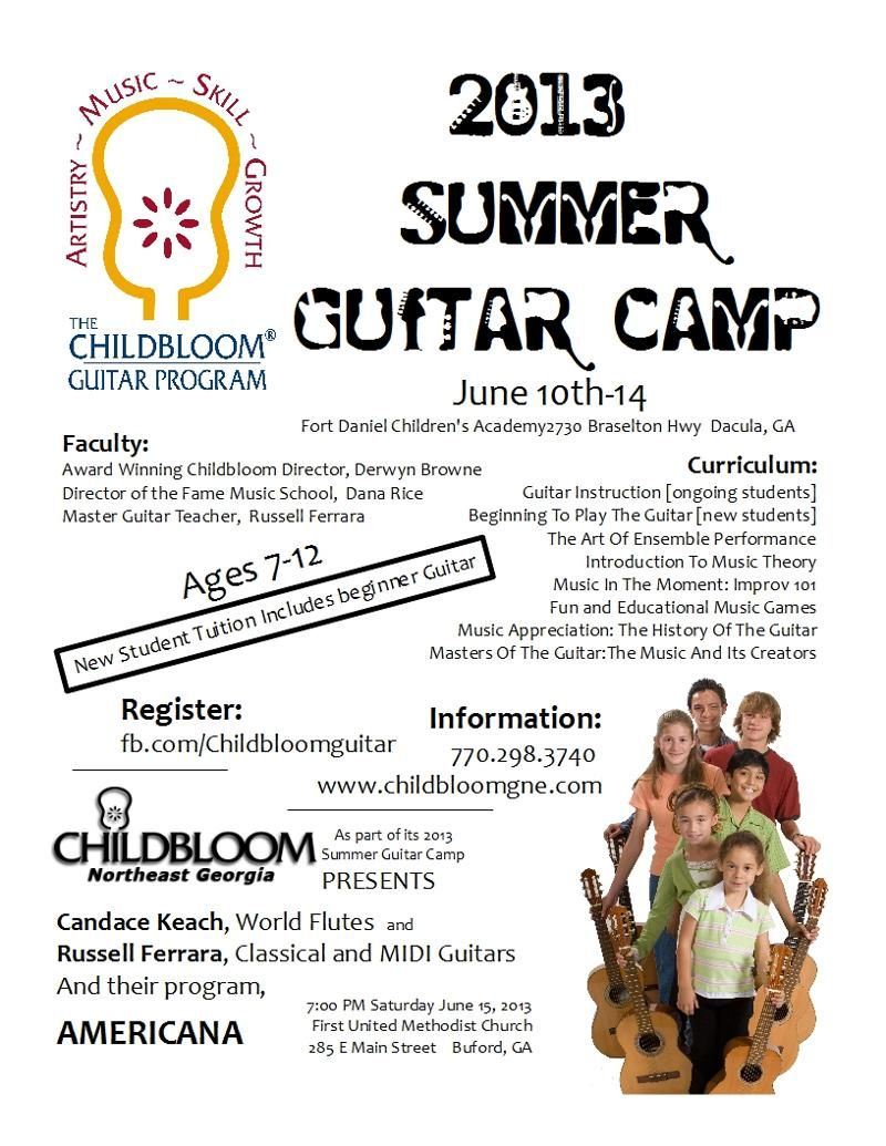 guitar summer camp flyer