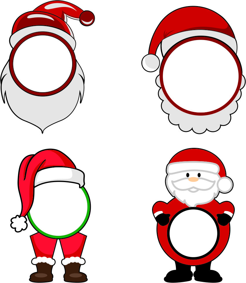 christmas santa face monogram cuttable frame cut file vector