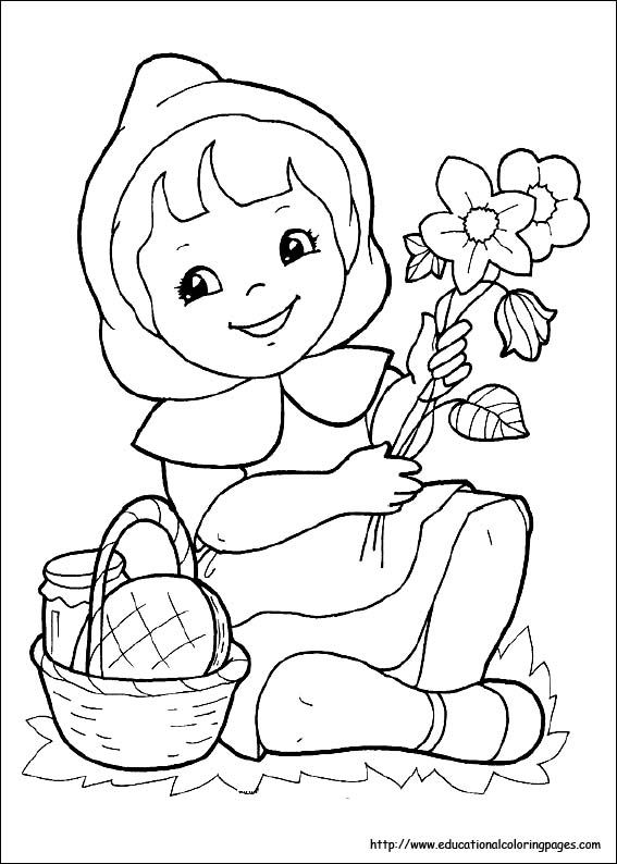 Coloring Hood Little Pages Red Riding 2020 Flower Coloring