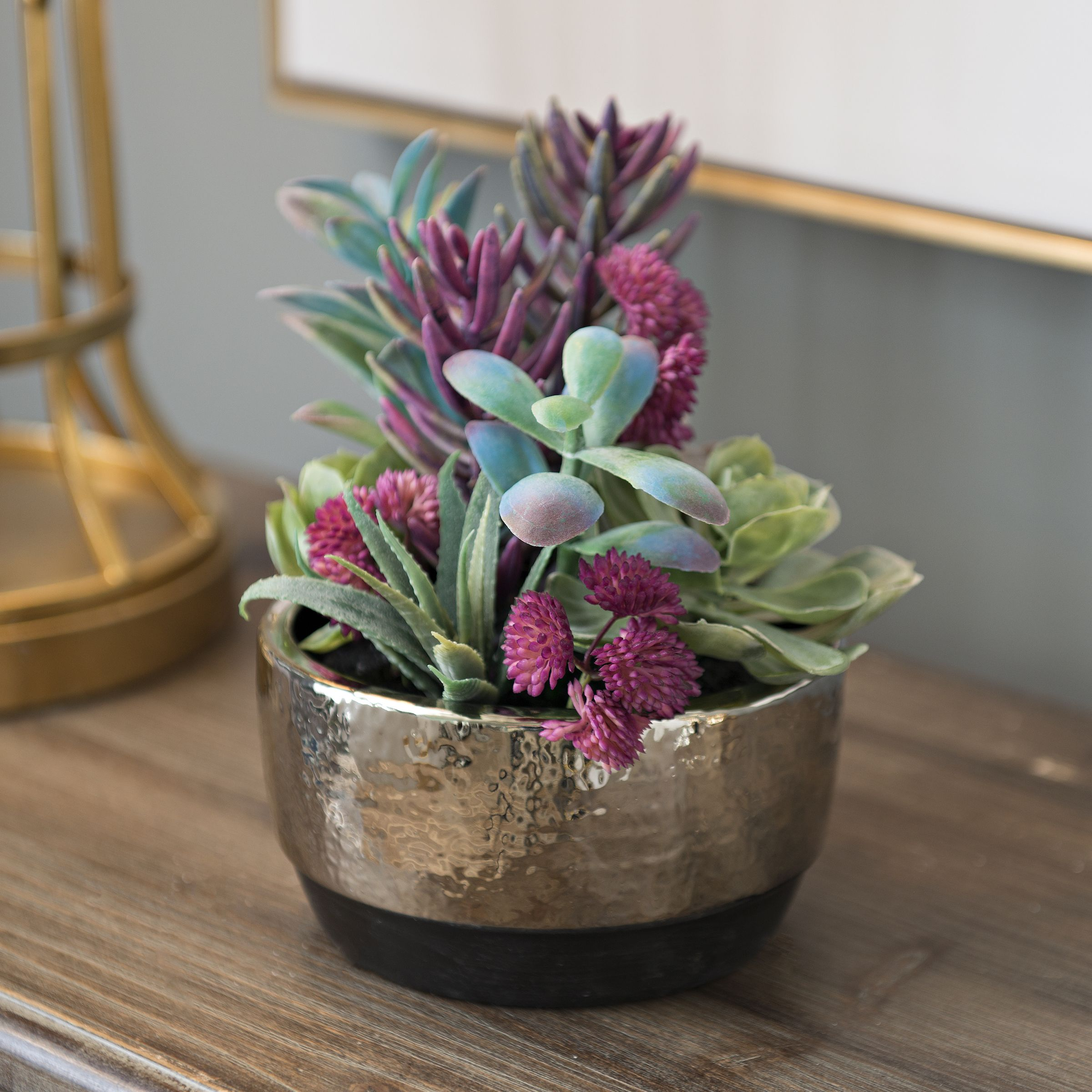 Product Details Colorful Succulent Arrangement In Silver