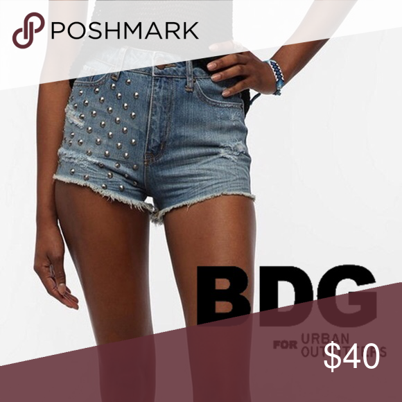 8bfe3c2132 BDG High Rise Cheeky Studded Distressed Shorts Size 28. BDG High Rise  Cheeky Studded Distressed