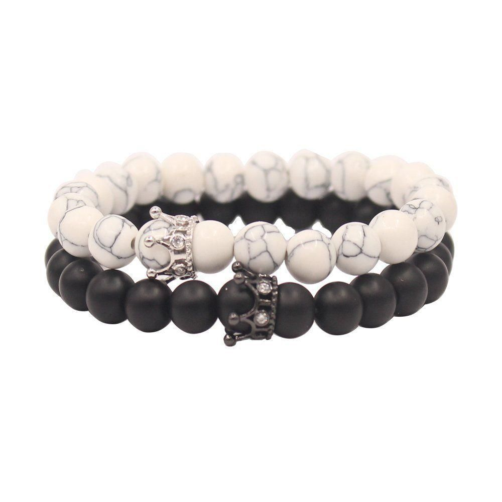 ae40525ab7 8mm Black White Beads King & Queen Crown Couple His and Her Stretchy Bracele