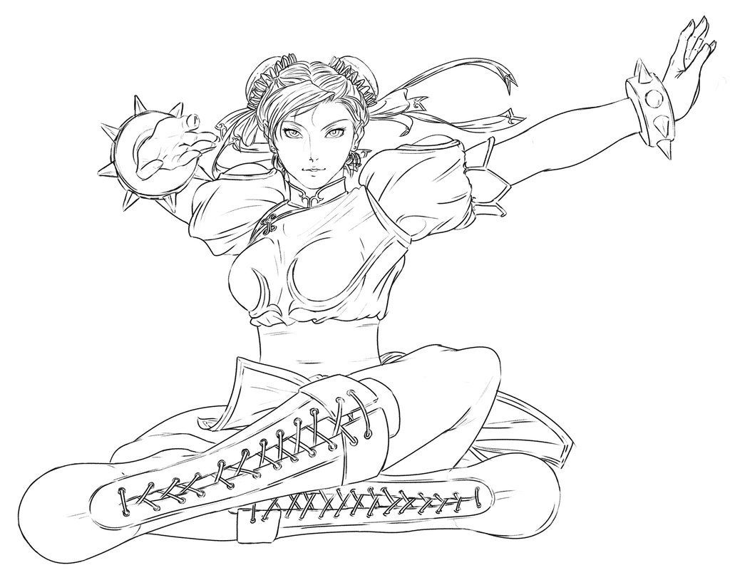 Chun Li Lineart Cartoon Coloring Pages Coloring Pages Minions Cartoon