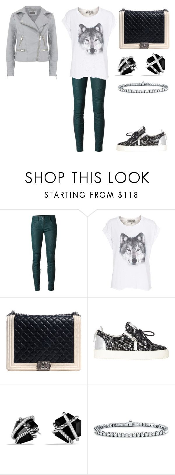 """Untitled #26650"" by edasn12 ❤ liked on Polyvore featuring DKNY, Wildfox, Chanel, Giuseppe Zanotti, David Yurman and Blue Nile"