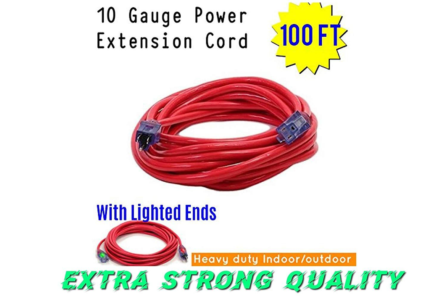 Century Contractor Grade 100 Ft 10 Gauge Power Extension Cord 10 3 Plug 100 Ft 10 Gauge Heavy Duty Indoor Out Outdoor Extension Cord Extension Cord Contractors