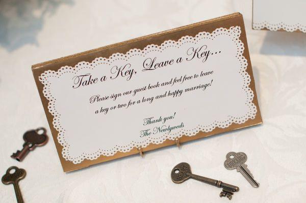 #keys  Planning + Design: Unique Weddings by Alexis - weddingsbyalexis.com Photography: Grazier Photography - grazierphotography.com  Read More: http://www.stylemepretty.com/2011/09/08/fairmont-copley-plaza-wedding-by-unique-weddings-by-alexis-grazier-photography/