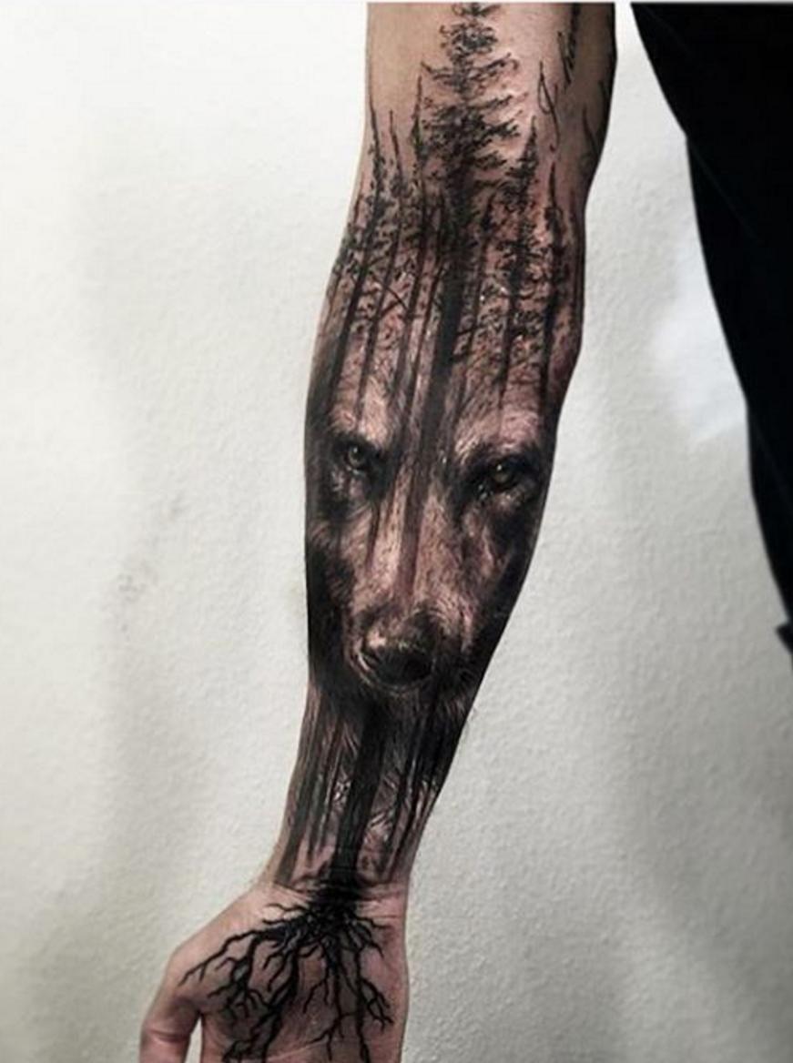 Wolf Wald Tattoo Unterarm