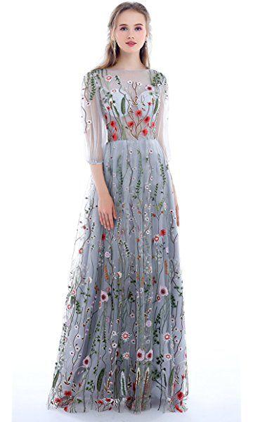 aa441266312a Dobelove Women's Long Sleeves Floral Embroidery A-line Evening Dress ...