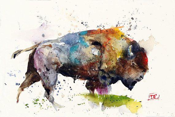 BUFFALO Bison Watercolor Print by Dean Crouser