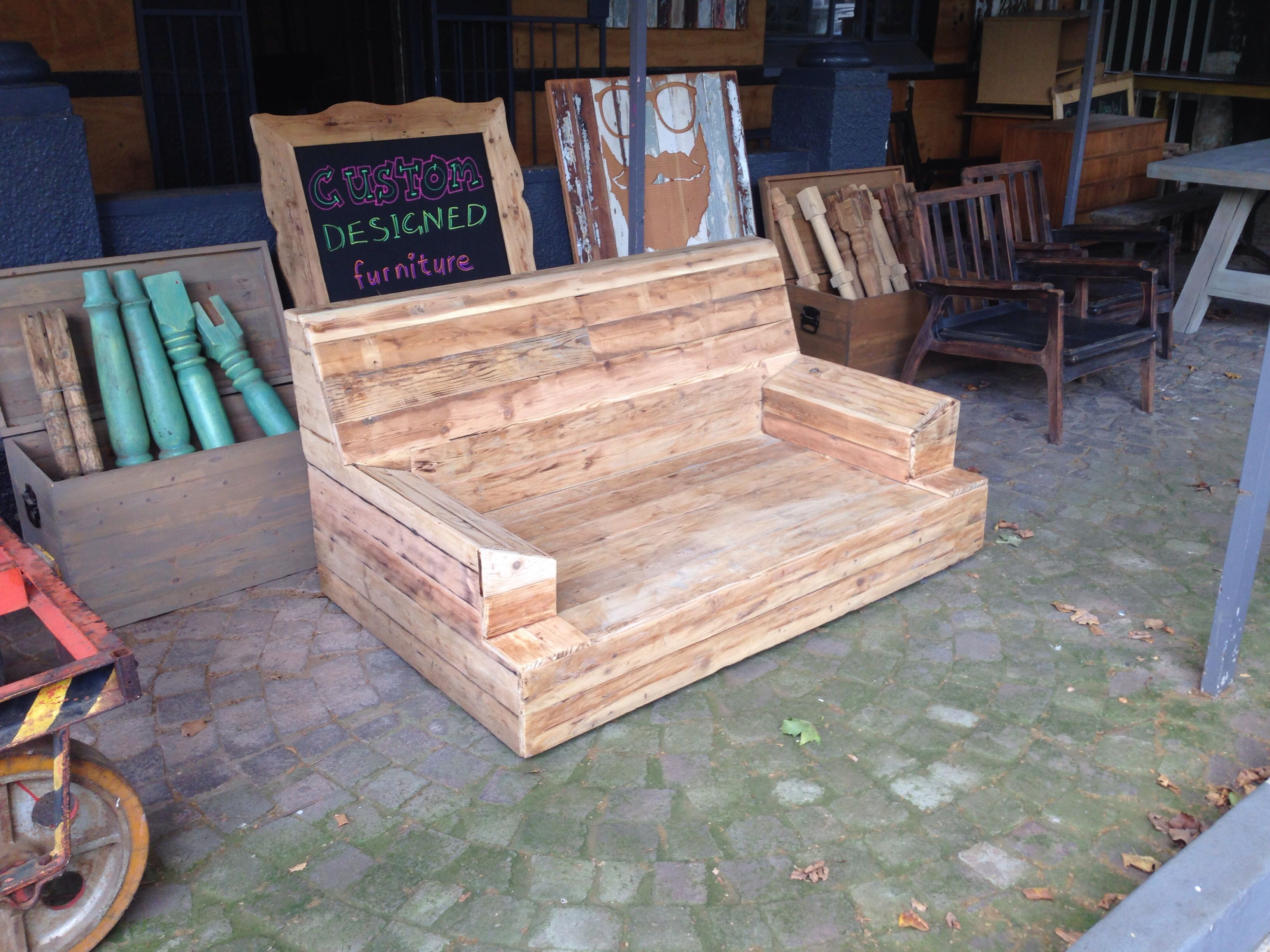 Diy outdoor couch sofa frame - Old Sofa Frame Converted Into Outdoor Wood Cladded Couch By Retro Noah