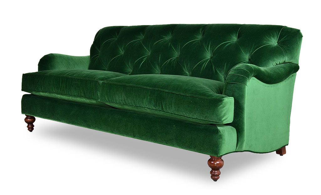 Alfie tufted emerald green velvet sofa with tight back ...