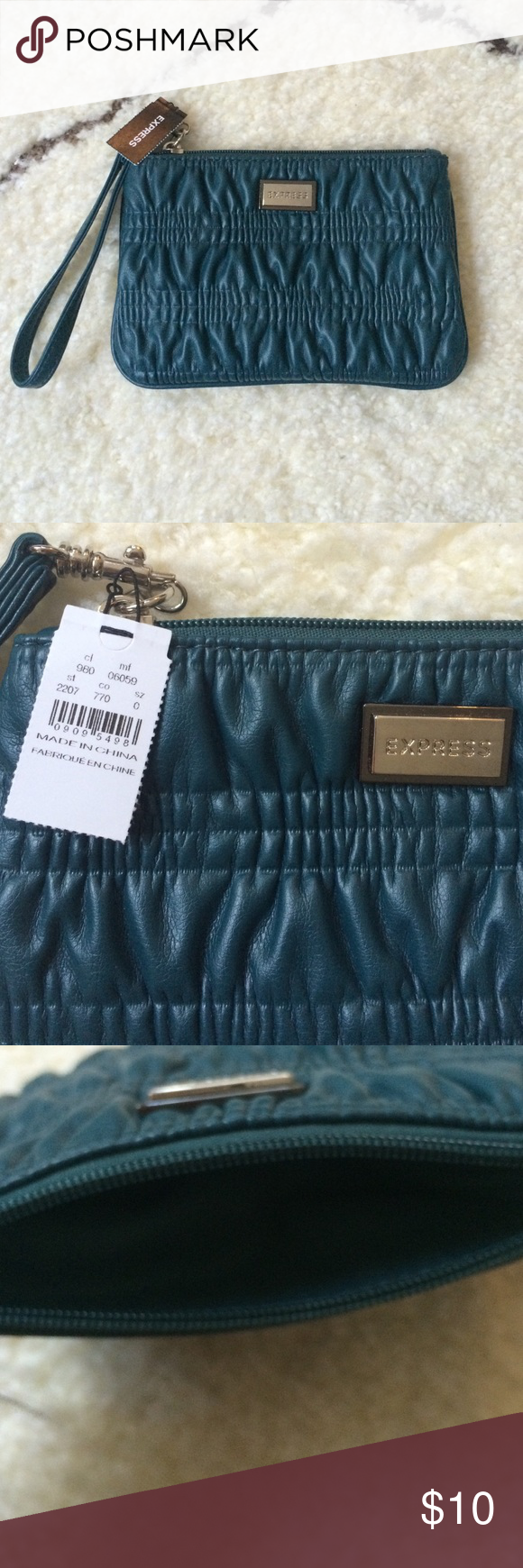 """NWT Teal Express Wristlet Never used with tags still attached. Size: 7.25""""w x 5""""h.  Brand: Express. Please take a look at my other listings to see if you're interested in bundling this item to save on shipping. I also offer 10% off bundles! Express Bags Clutches & Wristlets"""
